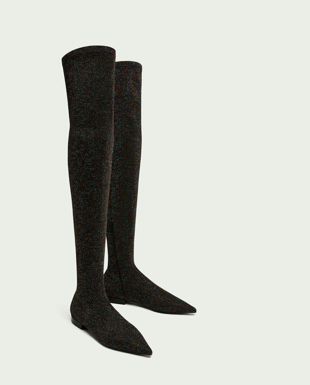 Zara multi colour glitter over the knee boots UK size 5 EUR 38