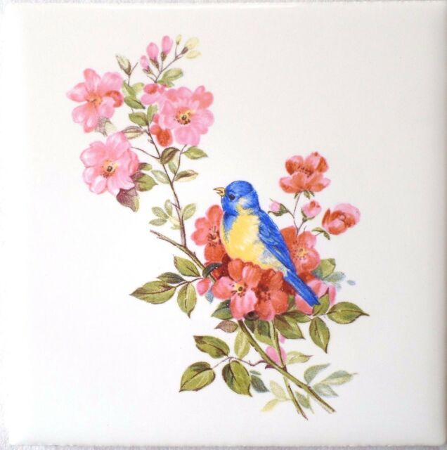 "Blue Bird with Pink Flowers Ceramic Tile 4.25"" Yellow Song Bird Kiln Fired Decor"