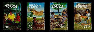 Hell Tonga Mnh äSthetisches Aussehen Scott # 1074-1077 Set Von 4 Damen & Young Mädchen Weben Körbe