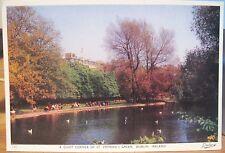 Irish Postcard QUIET CORNER ST. STEPHENS GREEN Shelbourne Dublin Ireland Dollard