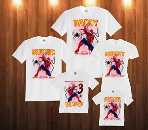 8d75e716 Image is loading Spider-Man-Personalized-Custom-SPIDERMAN-Birthday -TtShirt-Family-