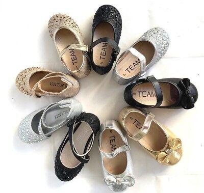 Girls Kids toddler glitter strip ballet flats shoes  on sale now blk gold sliver