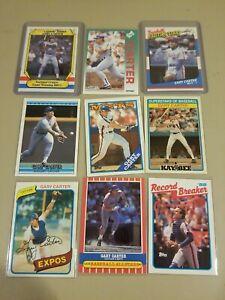 Gary Carter 9 Card Lot Mets Expos Dodgers Topps Fleer Donruss All Star HOF MLB