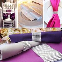 100X Diamond Mesh Wrap 8 Rows Silver/Gold Wedding Chair Sash Napkin Rings