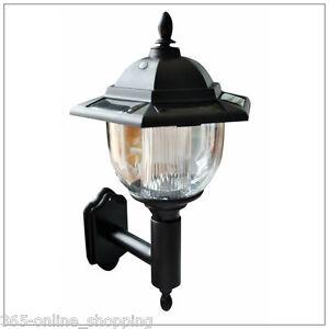 Traditional solar powered led outdoor garden wall lantern porch light lamp ebay for Solar powered exterior wall lights