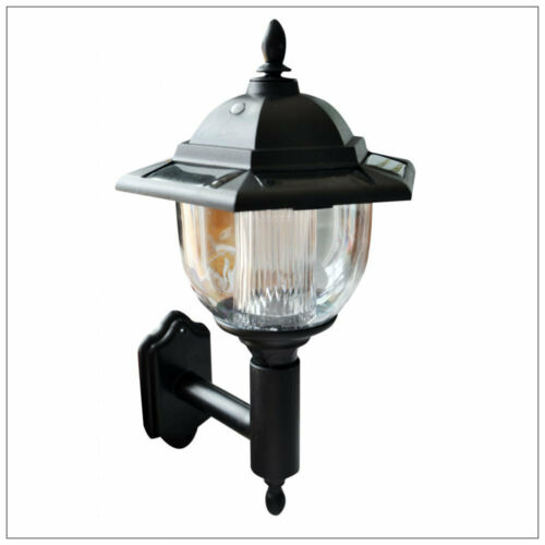 2x TRADITIONAL SOLAR POWERED LED OUTDOOR GARDEN WALL LANTERN PORCH LIGHT LAMP