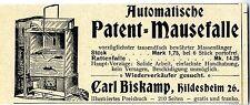 Carl Biskamp Hildesheim Automatische Patent- Mausefalle Historische Annonce 1901