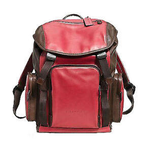Coach Mens Sport Backpack Leather F71508 Brown Red Agsbeagle #COD Paypal