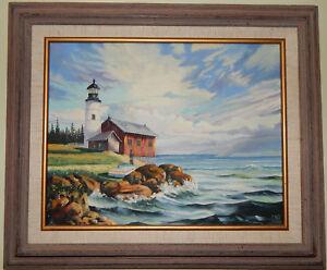LIGHTHOUSE-Original-oil-on-canvas-painting-artist-signed-framed-ocean-waves-boat