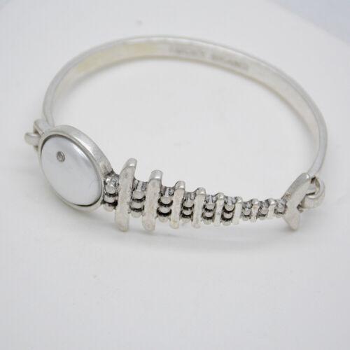 Lucky Brand signé Bijoux Argent mat Fishbone Bracelet Texturé Cuff Bracelet