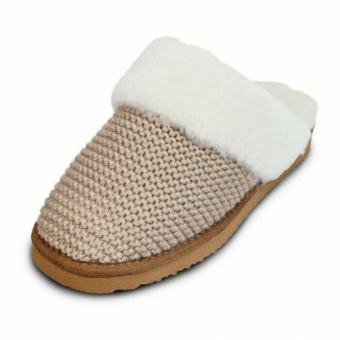Lambskin Slippers House Shoes Knitted Effect Beige Size 36-46 Womens and Mens