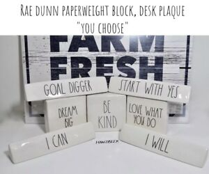 RAE-DUNN-PAPERWEIGHT-BLOCK-DESK-PLAQUE-LARGE-LETTER-034-YOU-CHOOSE-034-NEW-HTF-2019