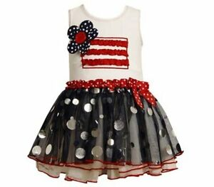 Bonnie jean dressy pageant patriotic holiday sparkle tutu dress ebay