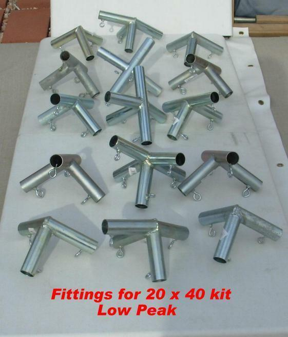 20x40 + Canopy Car Tent Fittings (connectors) Only, Solid Steel, Tent4all