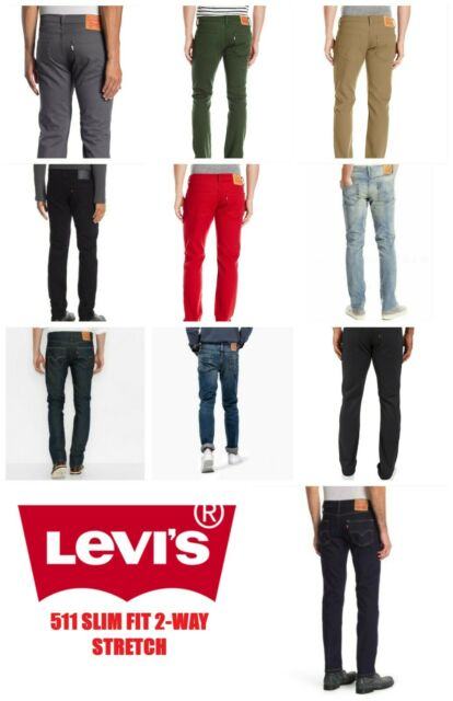 NEW MENS LEVIS 511 SLIM FIT STRETCH  ZIPPER FLY JEANS PANTS BLUE BLACK RED GRAY