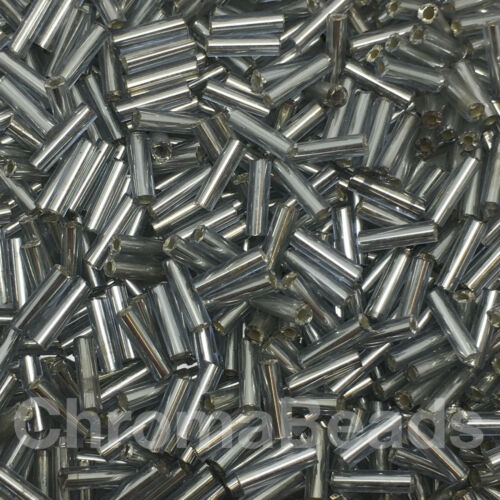 approx 6mm tubes choice of colours Silver-Lined 50g glass bugle beads