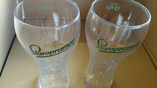 2 x Staropramen Pint Glasses NEW STOCK