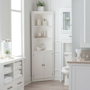 Details About 3 Shelf Corner White Linen Tower Cabinet Home Living Bathroom Storage Furniture