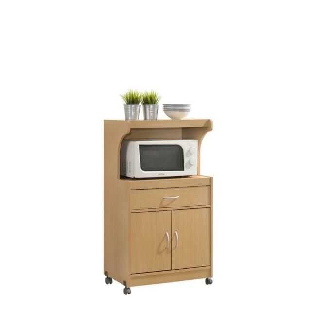 Tall Microwave Stand Hutch Cart Kitchen