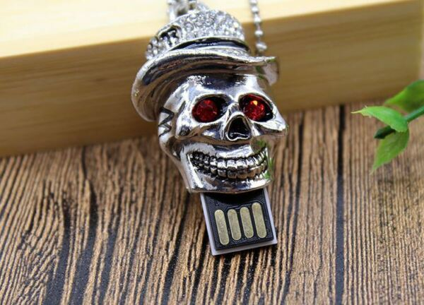 1pc 16gb Silver Skull Red Gem Eyes Usb Flash Thumb Drive Chain Usa Shipper Makkelijk Te Gebruiken