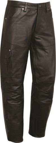 Mens Motorcycle Biker Black real Leather Trousers Motorbike Outdoor casual pants
