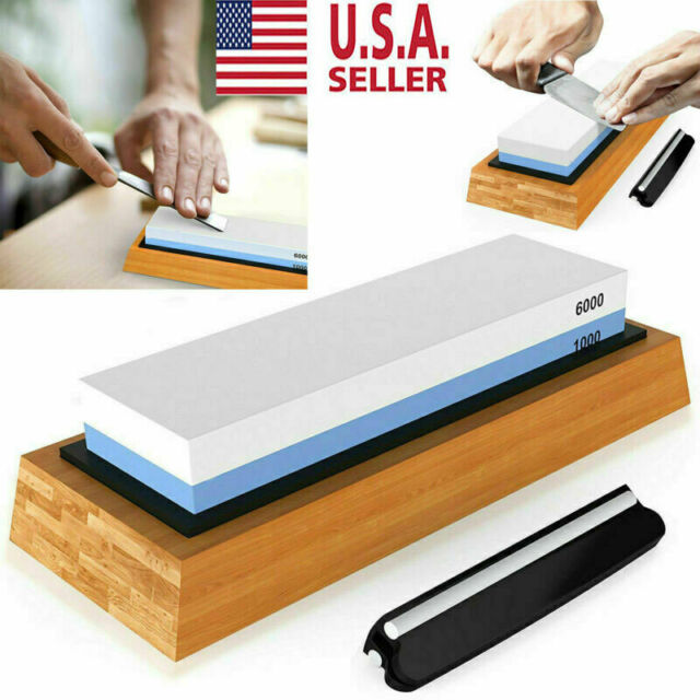 Knife Sharpening 1000 6000 Grit Stone Kitchen Whetstone Sharpener Wet Two Sided