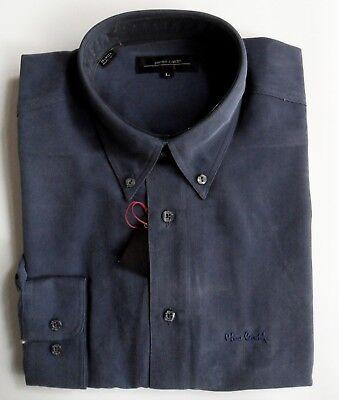 PIERRE CARDIN Shirt Mens Long Sleeve Polynosic Button Down Collar Indigo Blue