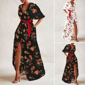 VONDA-UK-8-24-Women-Floral-Print-Party-Long-Dress-Batwing-Sleeve-Loose-Kaftan