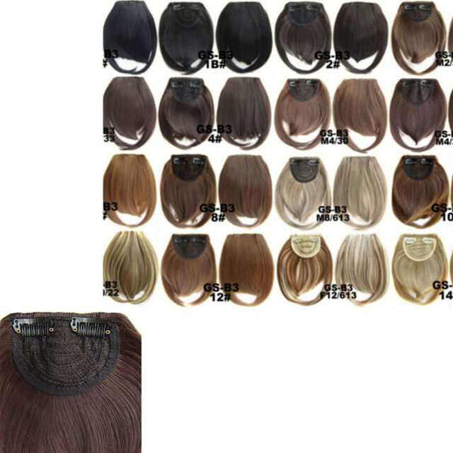 short front neat bangs clip bang fringe hairpiece extension straight syntheti LL