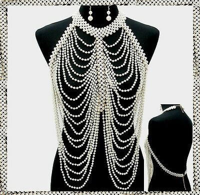 Gold Pearl Strand Bead Bib Body Chain Necklace Jewelry Party Long Metal Layered