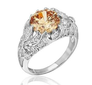 Edwardian-Inspired-Sterling-Silver-3-30ct-TW-Champagne-and-White-CZ-Ring-Size-7