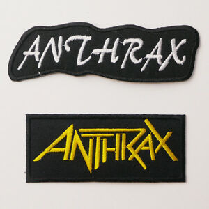 ANTHRAX-Patch-SET-OF-TWO-Embroidered-Iron-On-Patches-UK-FREE-POST