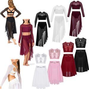 Girls-Kids-Lyrical-Dance-Leotard-Ballet-Dress-Top-Skirt-Dancewear-Costume-Outfit