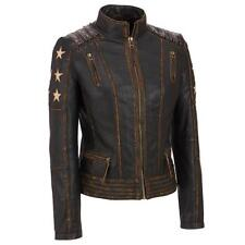 Womens Distressed Stars Vintage Stripes Biker Brown Leather Jacket