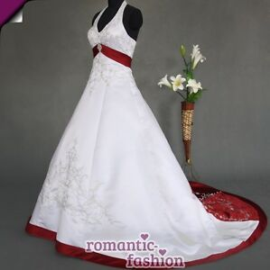 Brautkleid-Hochzeitskleid-Weiss-mit-Bordeauxrot-Groesse-34-bis-54-NEU-W085