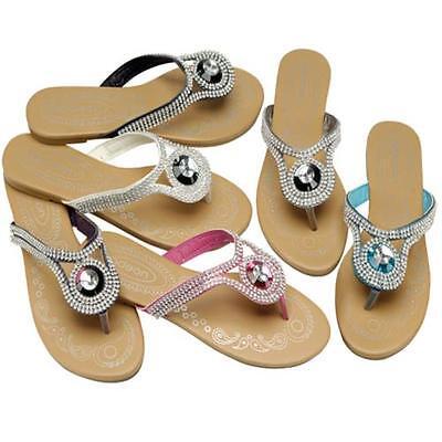 Señoras Sandalias Planas Nuevo Para Mujer Chicas De Verano Vestido De Playa Con Tiras De Zapatos Talla