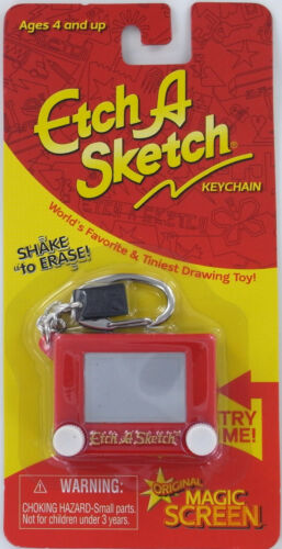ETCH A SKETCH Keychain Keyring toy classic retro Mini Shake Erase Retired doll