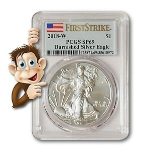 2018-W-Burnished-Silver-Eagle-PCGS-SP69-First-Strike-NO-RESERVE