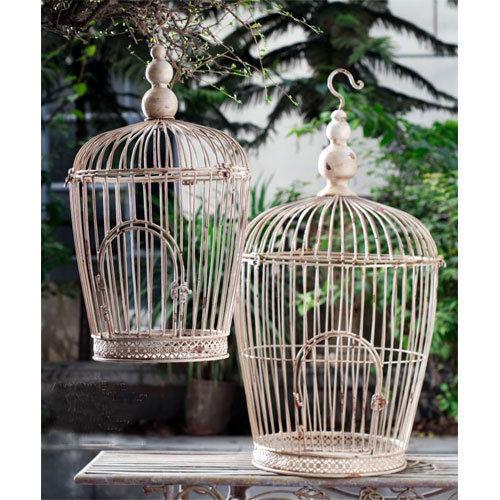 Wire Bird Cage Cream 31.5  23.5  Set Of 2 - 89699CREA
