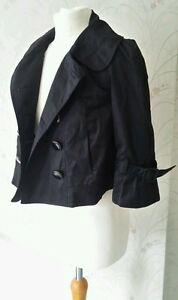 New-Look-Black-Short-Double-Breasted-Bell-Sleeve-Jacket-Size-10-Worn-Once