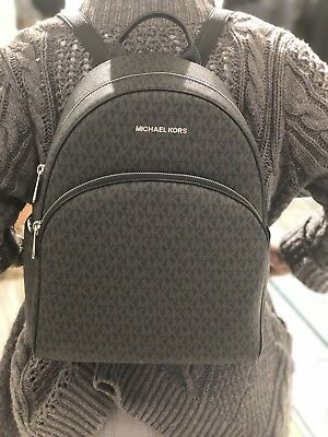 bf83ce0533d49f NWT MICHAEL KORS ABBEY LARGE BACKPACK BLACK MK SIGNATURE PVC LEATHER ...