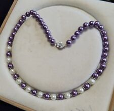 """White South Sea Shell Pearl Necklace 18/""""m02 8mm AAA"""
