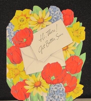 Greetings Inc. 1950 Get Well Soon CARD Beautiful Bouquet of Flowers