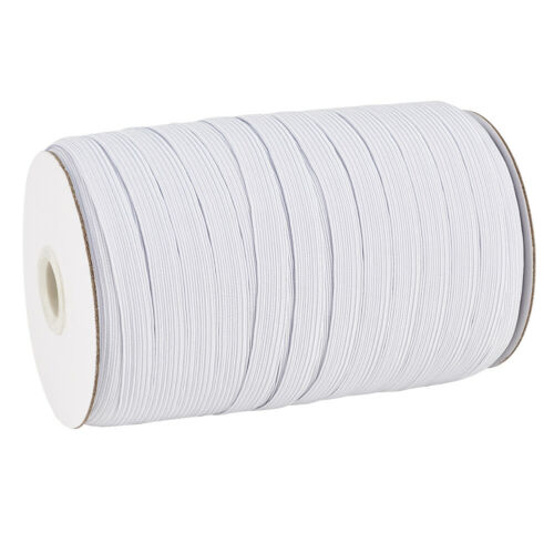 "200yds//Roll White 1//2/"" Flat Elastic Cords Knit Braided Sewing Bands Ropes 12mm"