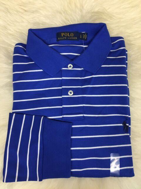 7e846fa81c51 Ralph Lauren MENS Standard Fit Long Sleeve Shirt Blue White Stripe Size S