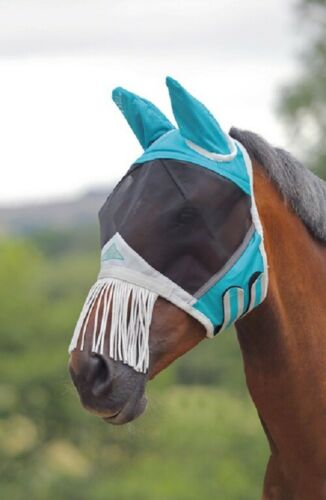 Shires Fine Mesh Horse Equine Fly Mask With Ears And Nose Fringe UV Protection