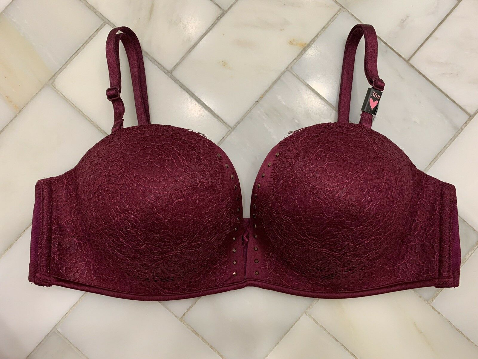 NWT Victoria's Secret Bombshell Multi-way Push-up Bra 36B Berry Studs Current