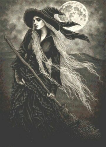 Fantasy UK Halloween Pagan Full Moon Counted Cross Stitch Kit Witch