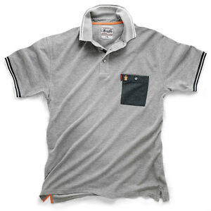 NEW COTTON MENS POLO SHIRT SCRUFFS WORKER POLO  GREY **FREE DELIVERY**