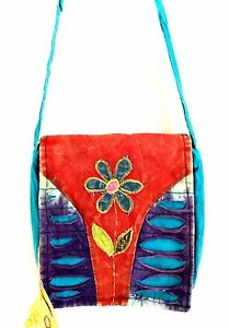 Karma-Circle-USA-Crossbody-Bag-Bohemian-Canvas-Fabric-Messenger-Handbag-Daisy